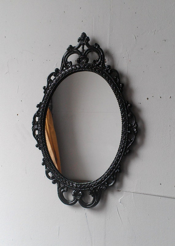 Ornate Black Mirror In 17x12 Vintage Metal Frame Black Etsy
