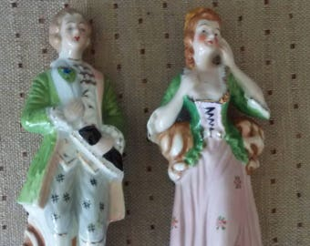Vintage Pair of Japanese Porcelain Figurines,  Colonial Couple, Man and Woman