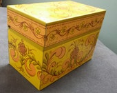Vintage AVON Metal Recipe Box with Tole Folk Art Design in Yellow and Orange