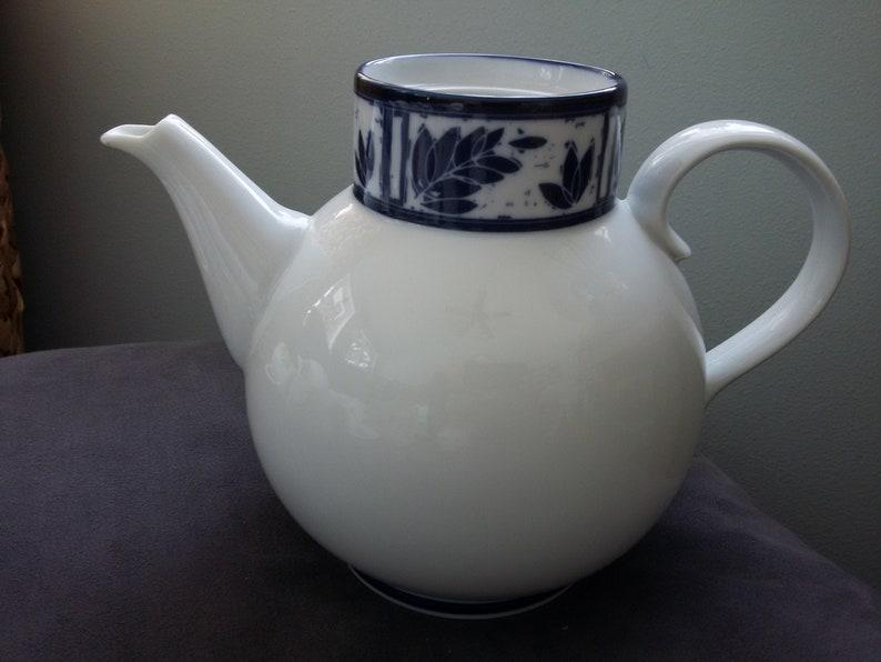 Japan Vintage Dansk Ceylon Coffee Pot  Teapot NO LID Navy Blue Leaf Border On White