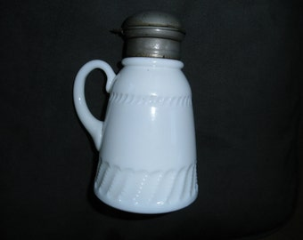 Vintage EAPG Milk Glass Syrup Pitcher