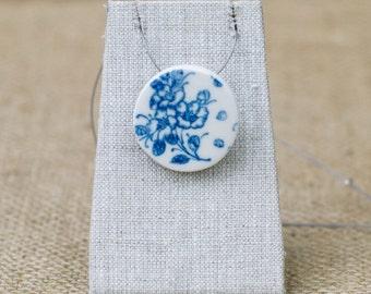 Porcelain Jewelry, Blue Floral Ceramic Pendant by Mrs Peterson Pottery