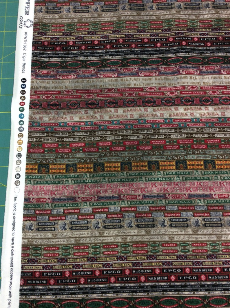 Eclectic Elements by Tim Holtz Dapper Cigar Bands from Free Spirit - 1/2  yard