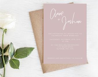 Wedding invitations etsy claire suite wedding invitations printable wedding set blush pink invite digital invitations minimalistic invites stopboris Images