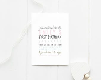 Birthday invitation - printable invites - digital invitations - first birthday -minimalistic design