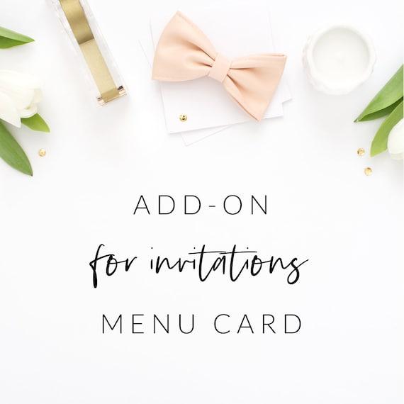 Matching Menu Card Design Add On Wedding Birthday Thank You Etsy