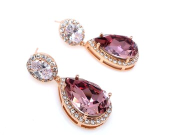 ab4047166 wedding jewelry bridal earrings Clear oval AAA cubic zirconia post antique  pink swarovski crystal rhinestone teardrop rose gold