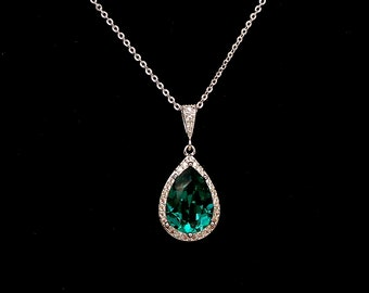 Double Halo Green Pear Emerald Pendant Royal Sterling Silver Crown bail Tiny Emerald Jewelry Delicate Teardrop Emerald Necklace