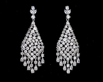 bridal earrings wedding jewelry prom party pageant micropave clear white marquise AAA cubic zirconia chandelier post statement earrings