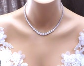 bridal necklace wedding jewelry party necklace 7mm -3mm gradation round rhodium silver plated AAA cubic zirconia collar necklace choker