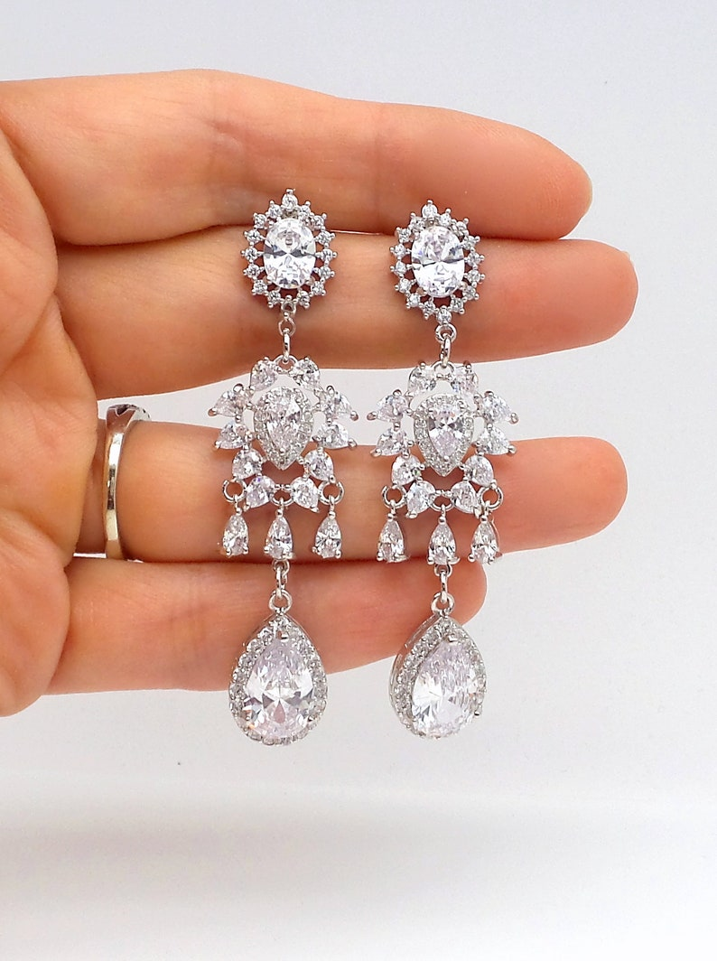wedding bridal jewelry christmas bridesmaid prom gift party pageant Clear white teardrop cubic zirconia oval halo cz rhodium post earrings