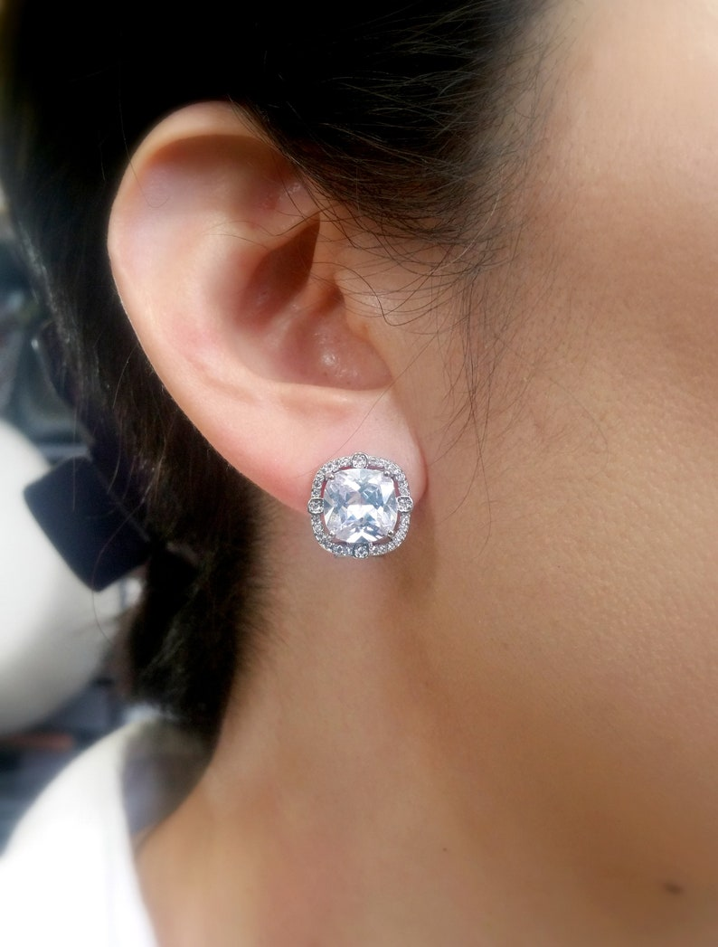 bridal earrings wedding jewlery prom party bridesmaid earrings square princess cut cubic zirconia post white gold silver earrings stud