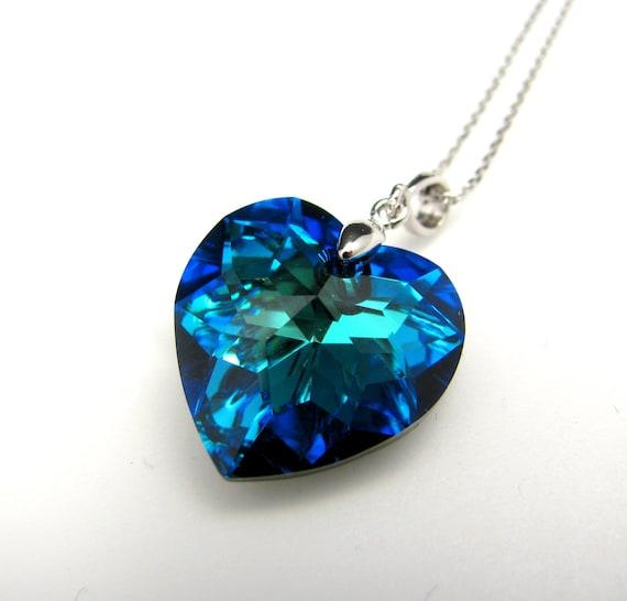 Swarovski bermuda blue heart crystal pendant necklace free  20c452114d90