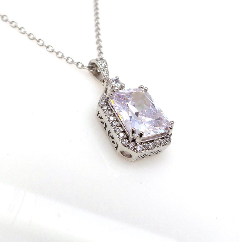 Bridal wedding jewelry bridesmaid gift prom party AAA cubic zirconia cz clear white vintage rectangle emerald cut rhodium silver necklace