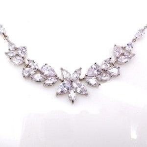 wedding jewelry bridal necklace prom party bridesmaid rhodium silver vine cubic zirconia necklace clear white marquise collar dainty choker