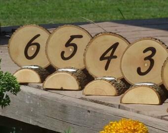 Table Number Centerpiece Log Wood Bark Tea Light Rustic Wedding Candles Decor Combo