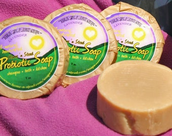 Probiotic Lavender Soap - 3 Bars Homemade Natural Shampoo, General Purpose Bath Bar, Sink, Kitchen, Laundry, Healthy Living