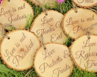 Corinthians 13 Set of Aisle Markers 'Love is Patient, Love is Kind..', 10 PCS  1.Cor.13: Rustic Wedding Aisle Decor Bible Decorations Verses