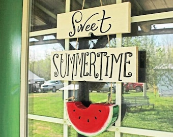 Sweet Summertime, Hello Summer, Welcome to our Home Sign, Summer Porch Door Hanger Watermelon
