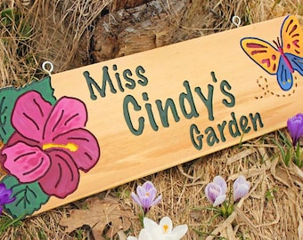 Garden Sign w/ Your Design Custom Flower Plaque Name Outdoor Gift for Mom