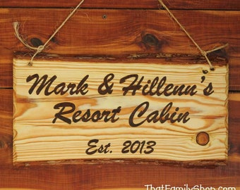 Custom Woodburned Sign Rustic Plaque Names Sign Cabin Decor Wall Hanging Personalized 5th Anniversary Wood Gift