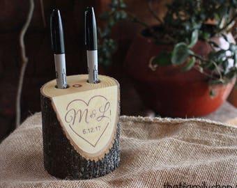 Personalized Wedding Gift Guest Book Alternative Custom Rustic Log Marker Holder Names Date Initials Pen Holder