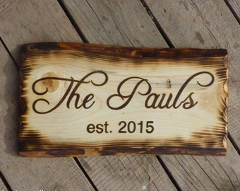 Family Name Established Sign with Burned Edges, Custom Wood Plaque, Rustic Personalized Cabin Name, Unusual Housewarming Gift for Couples