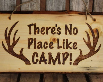 Camping Signs Decor Rustic Wood, Welcome Plaque, Deer, Hunting, Cabin Wall Hanging