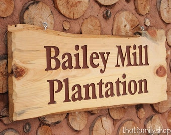 Large Engraved Custom Name Sign Rustic Cabin Personalized Plaque Log Slab