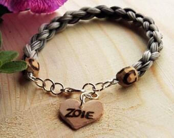 Perdonalized Horsehair Bracelet *Custom Wooden Heart Charm* Custom Made With Your Horse's Hair!