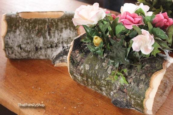 Log Flower Vase Rustic Wedding Table Centerpiece Decoration Etsy