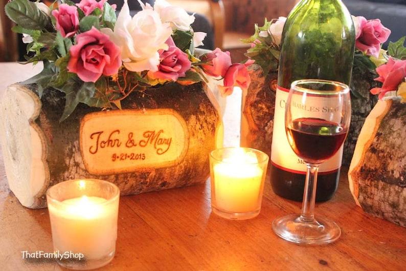 Log Flower Vase Rustic Wedding Table Centerpiece Custom image 0