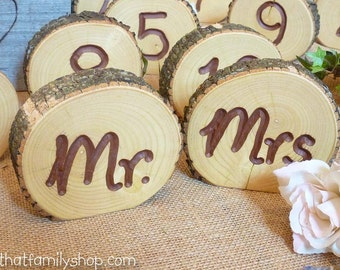 Mr and Mrs Sign Table Numbers Log Slices, Rustic Wood Bark Country Wedding Decor