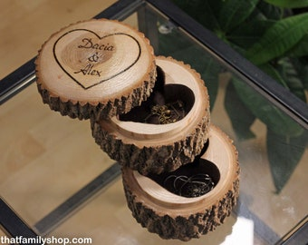 Carved Log Jewelry Trinket Dish, Double-Decker Wood Jewelry Box Gift from Natural Log, Personalized Custom Gift Name Initals for Her