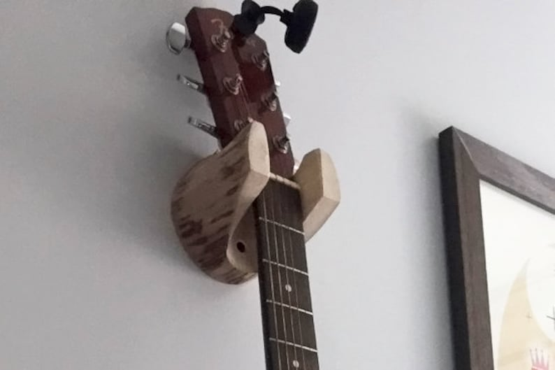 Guitar Hanger Rustic Log Wall-Mounted Unique Guitar Gifts for image 0