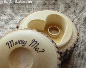 Proposal Ring Box, Personalized Engagement Log Jewelry Box, Marry Me Rustic Heart Custom Wedding Ring Holder