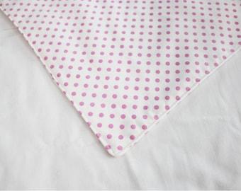 Pink and White Polka Dot Waterproof Changing Pad - small