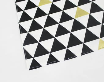 Black White and Gold Triangles Waterproof Changing Pad - small