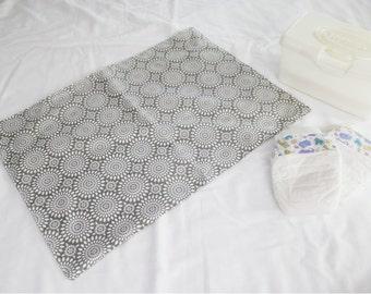 Grey & White Sunburst Waterproof Changing Pad - large