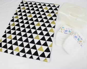 Black White and Gold Triangles Waterproof Changing Pad - large