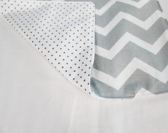 Reversible Grey & White Chevron and Polka Dots Waterproof Changing Pad - small