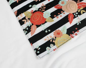Coral Mint and Gold Flowers and Stripes Waterproof Changing Pad - small