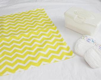 Yellow and White Chevron Waterproof Changing Pad - large