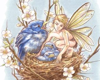 "Original fantasy art fairy print ""Get Your Own Chick!"""