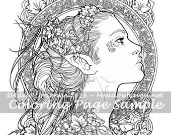 """A Meadowhaven Fantasy Coloring Page Download: """"Elvish"""""""