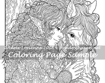 """A Meadowhaven Fantasy Coloring Page Download: """"Friendship"""""""