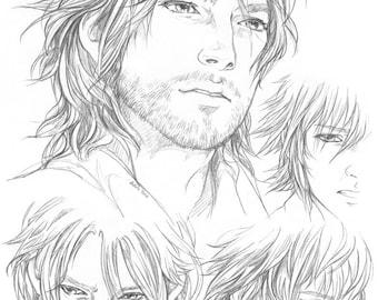FFXV Noctis pencil Sketchpage art print #1