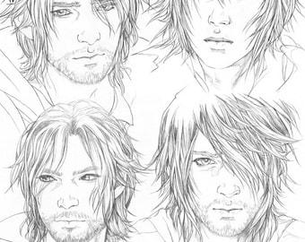 FFXV Noctis pencil Sketchpage art print #2