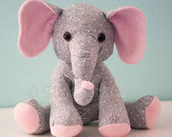 CUSTOM Ellie the Elephant Stuffed Animal - Multiple Sizes- Stuffed Elephant - Toys - Stuffed Animals - Elephant Softie