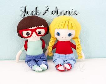 MADE TO ORDER Jack & Annie Dolls | Fabric dolls | Soft Dolls | Toys | Dolls | Custom Dolls | Dolls And Daydreams Dolls